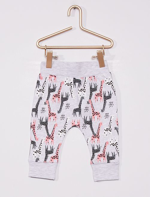 Pantalon 'girafes'                             gris