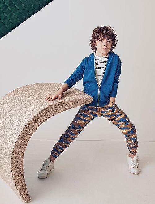 Pantalon imprimé 'camouflage'                                                     bleu/beige