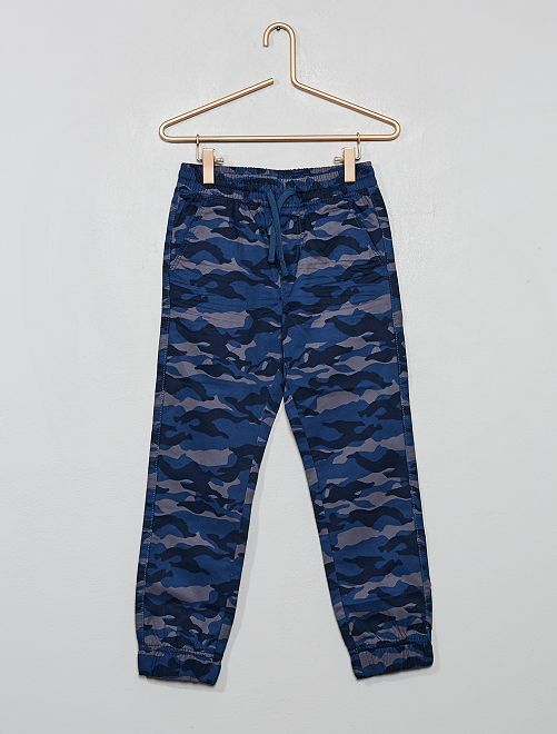 Pantalon imprimé 'camouflage'                                                                 bleu/gris