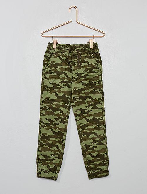 Pantalon imprimé 'camouflage'                                                     kaki