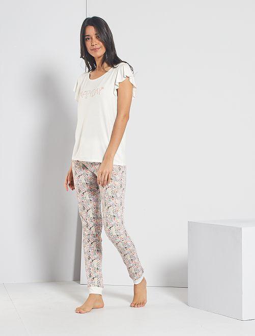 Pantalon imprimé fleuri                                                                 blanc