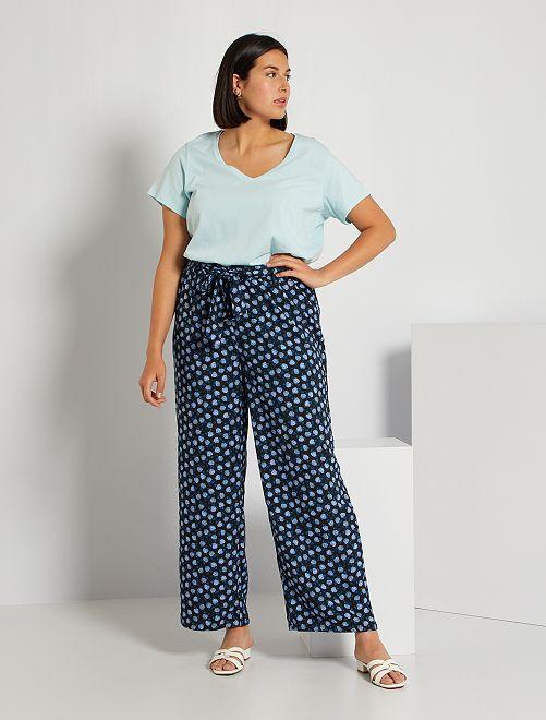 Pantalon imprimé                                         noir fleurs bleues