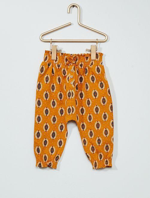 Pantalon imprimé                                         ocre