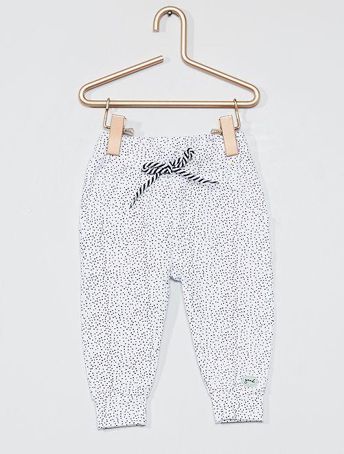 Pantalon imprimé pois all over                             blanc