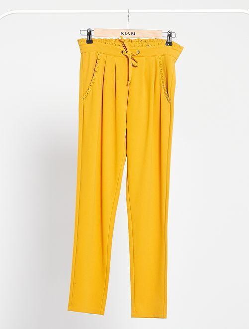 Pantalon 'JDY' avec détails fronces                             jaune
