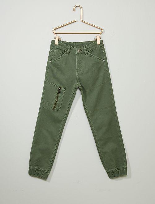 Pantalon jean jogger                                                     vert kaki
