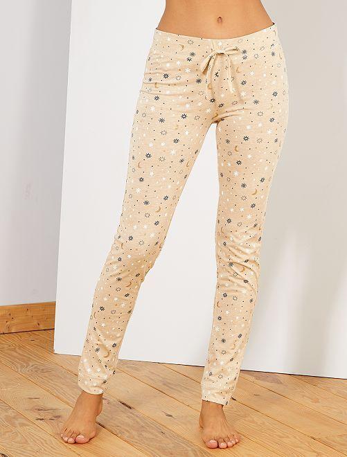 Pantalon jersey imprimé                                                                 beige chiné