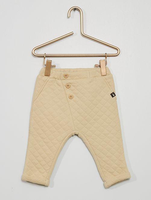Pantalon jersey matelassé                                         beige