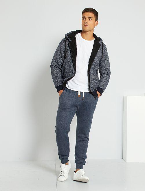 Pantalon jogging chiné                             bleu marine