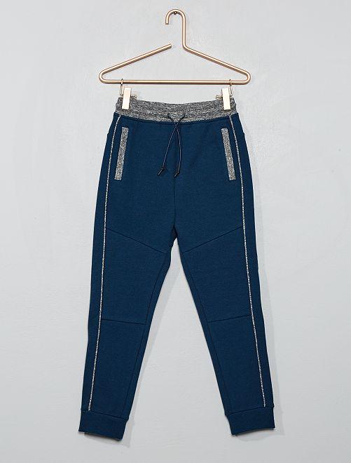 Pantalon jogging en piqué de coton                                                                 bleu
