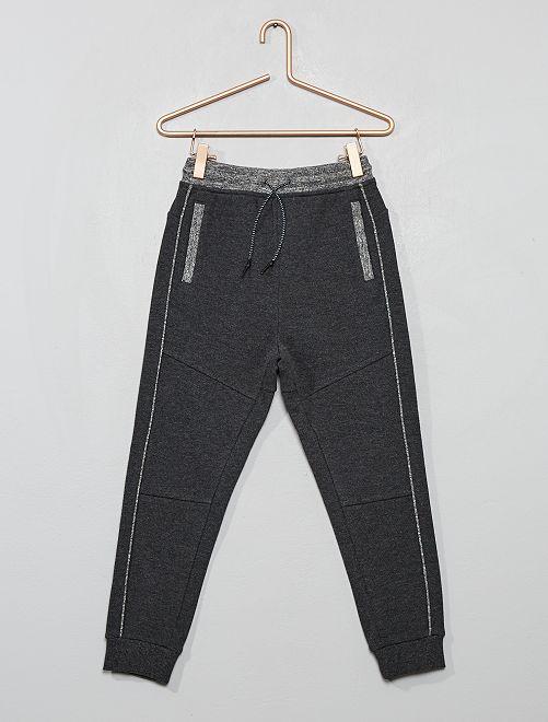 Pantalon jogging en piqué de coton                                                     gris foncé