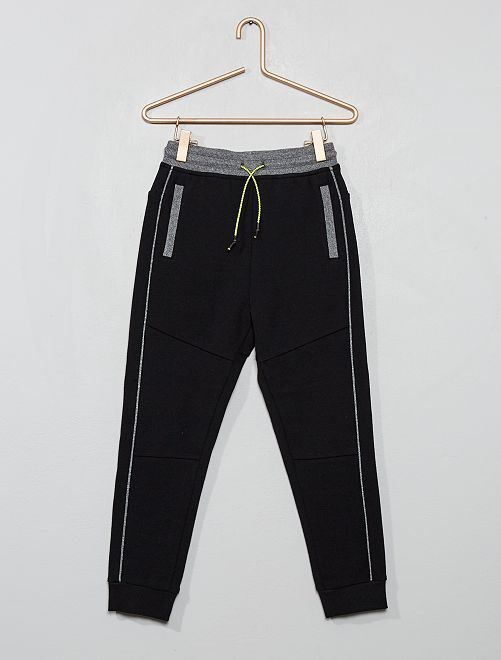 Pantalon jogging en piqué de coton                                                                 noir