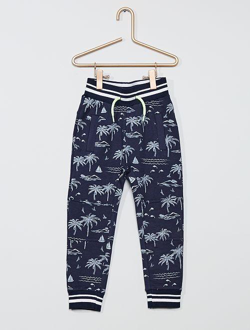 Pantalon jogging imprimé 'Palmier'                             bleu
