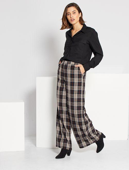 Pantalon large à carreaux                                         bleu/marron