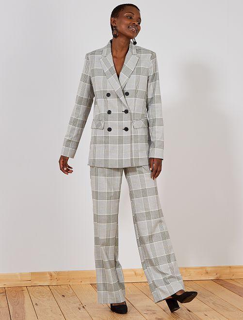 Pantalon large à carreaux                             gris Femme