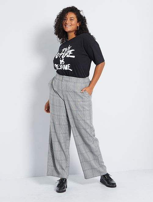 Pantalon large à carreaux                                         gris