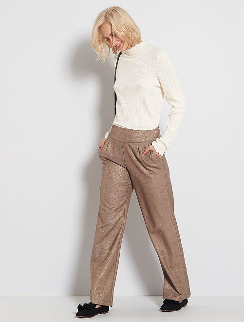 Pantalon large à micro motifs                             marron