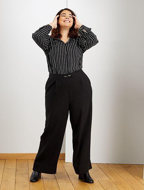 Pantalon large à revers                                         noir