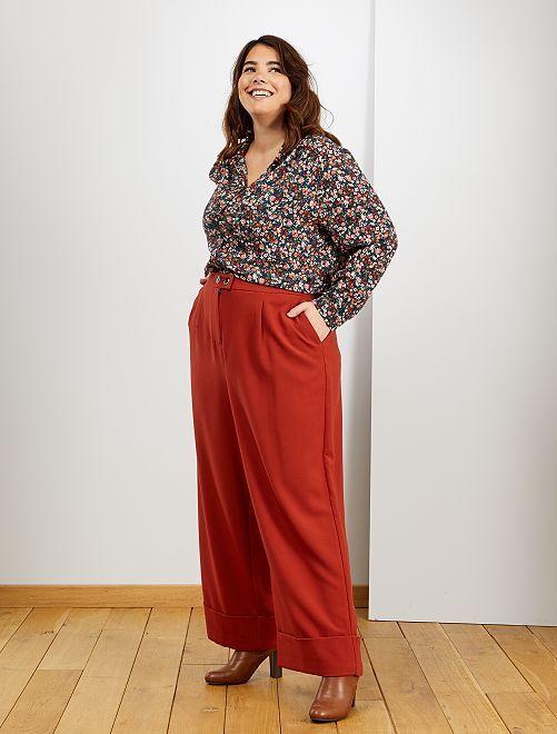 Pantalon large à revers                     rouille