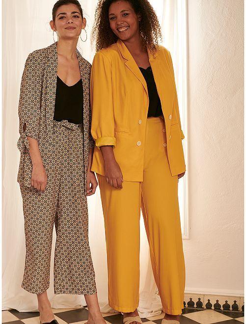 Pantalon large avec boutons                             jaune bronze