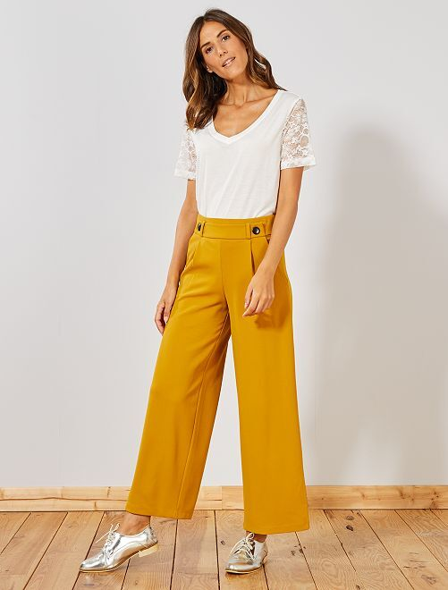 Pantalon large avec boutons                                         jaune Femme