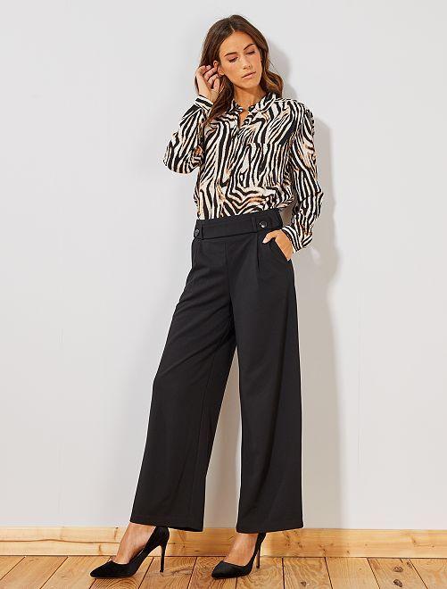 Pantalon large avec boutons                                         noir