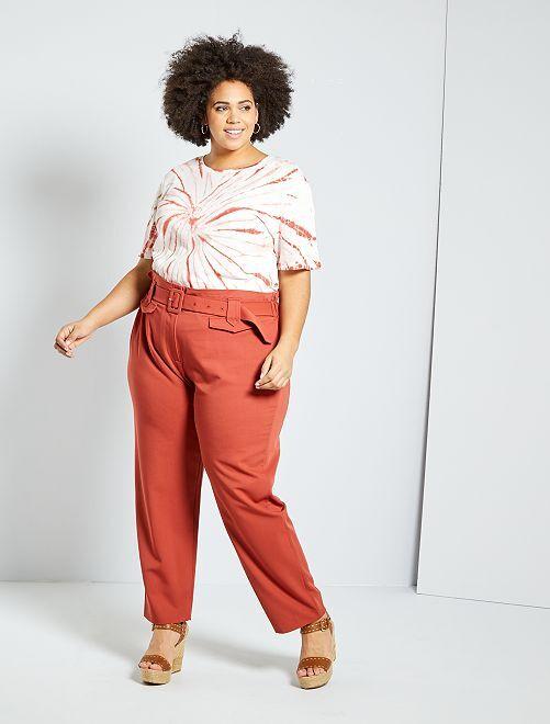 Pantalon large avec ceinture                                         brique