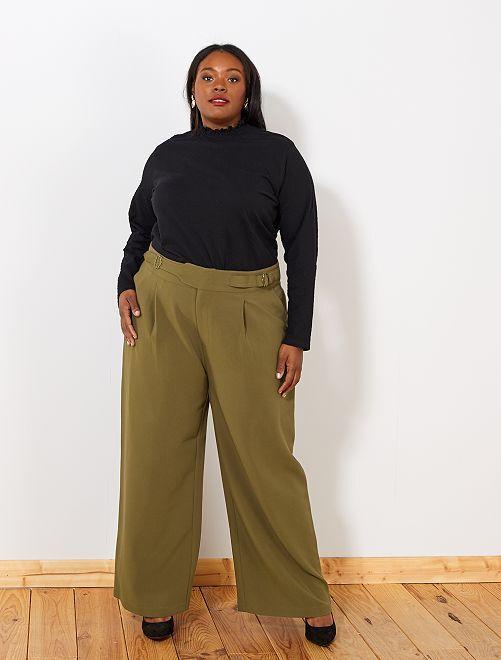 Pantalon large avec ceinture                                         kaki