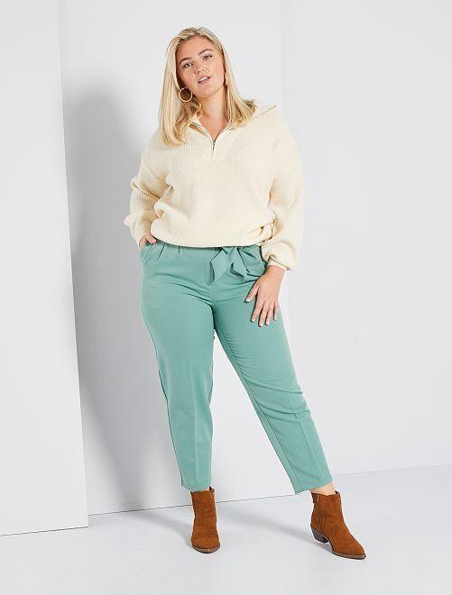 Pantalon large avec ceinture                             vert