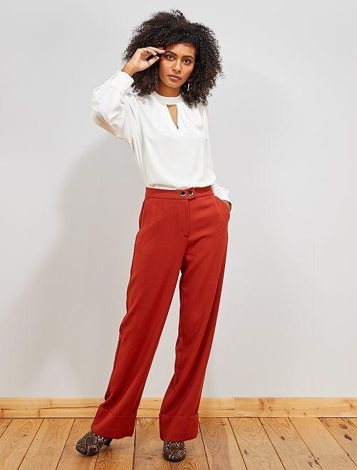 Pantalon large avec revers                                         brique