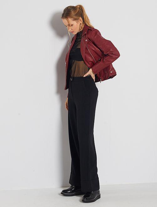 Pantalon large avec revers                                         noir