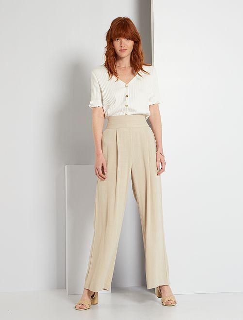 Pantalon large                             beige crème