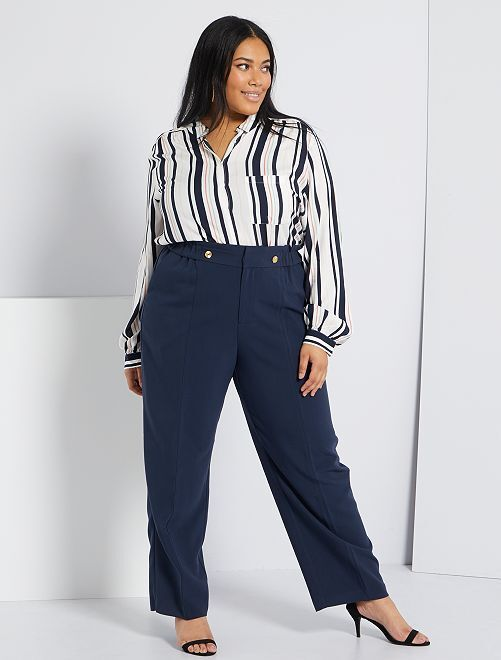 Pantalon large                             bleu marine