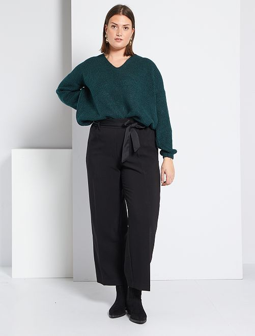 Pantalon large ceinture satinée                             noir