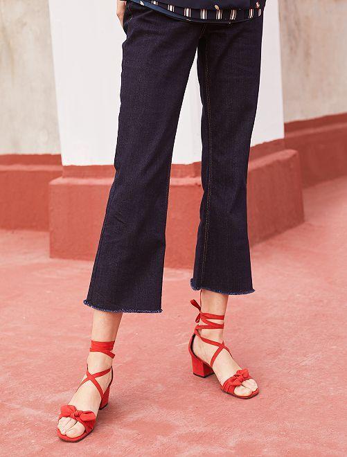 Pantalon large cropped                                         bleu Femme