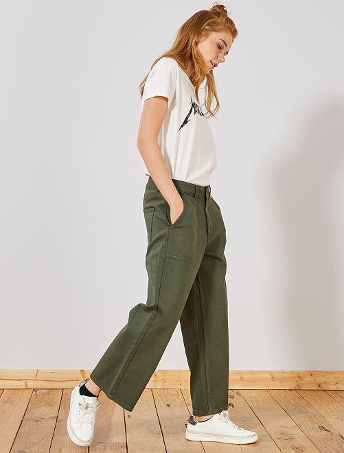 Pantalon large cropped effet denim                             vert thym