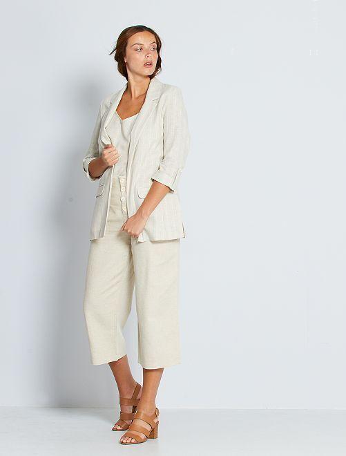 Pantalon large en coton et lin éco-conçu                                         beige