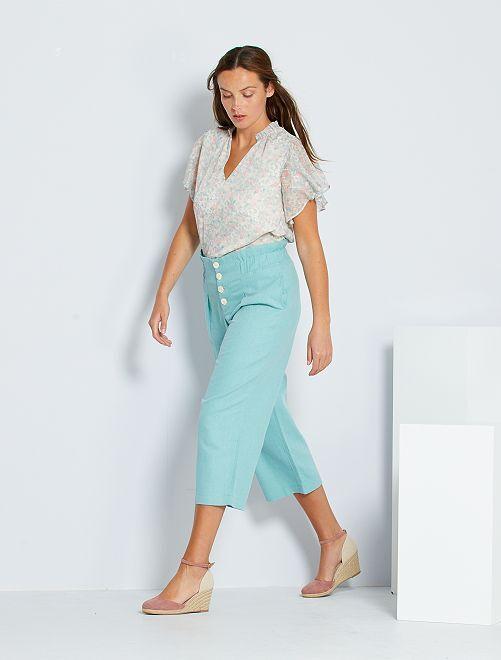 Pantalon large en coton et lin éco-conçu                                         vert grisé