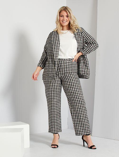 Pantalon large en tweed                             noir/blanc