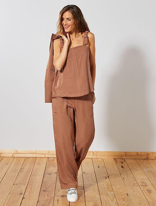 Pantalon large en viscose                             caramel Femme