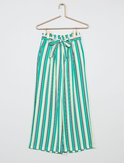 Pantalon large et fluide                                             vert rayé