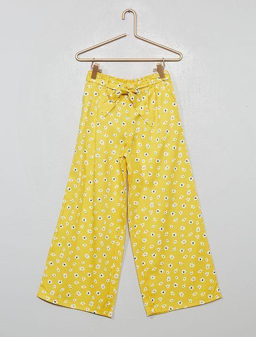 Pantalon large fleuri                                         jaune