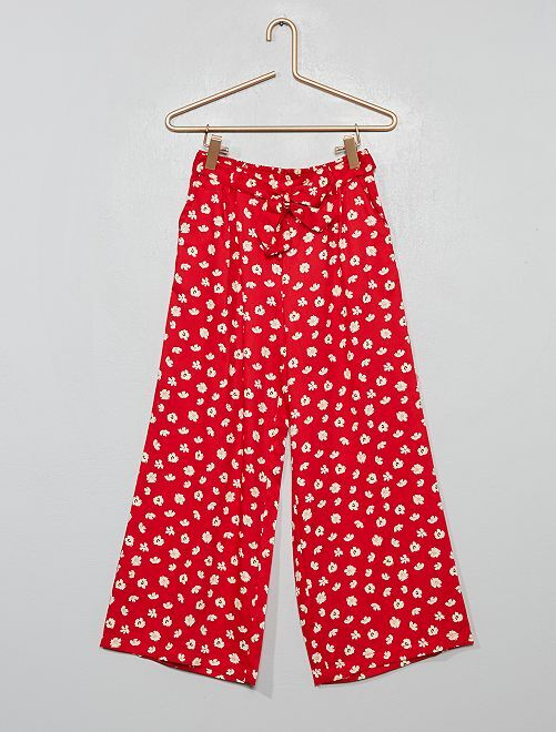 Pantalon large fleuri                                         rouge