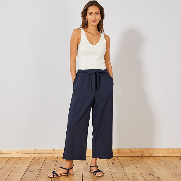 Pantalon large fluide 7/8ème Femme - Kiabi