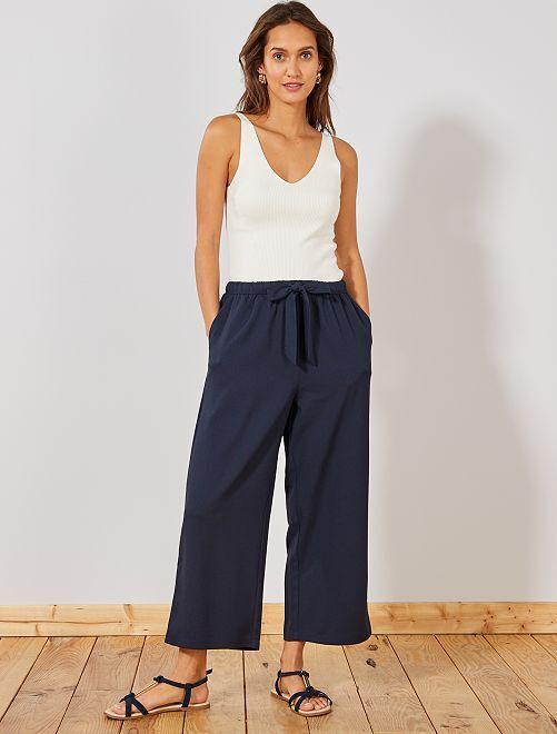 pantalon large fluide 7 8 me femme vert tropical kiabi. Black Bedroom Furniture Sets. Home Design Ideas