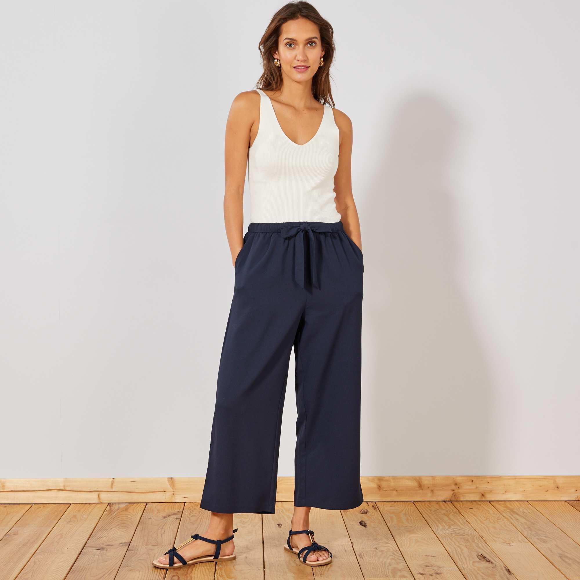 pantalon large fluide 7 8 me femme kiabi 15 00. Black Bedroom Furniture Sets. Home Design Ideas