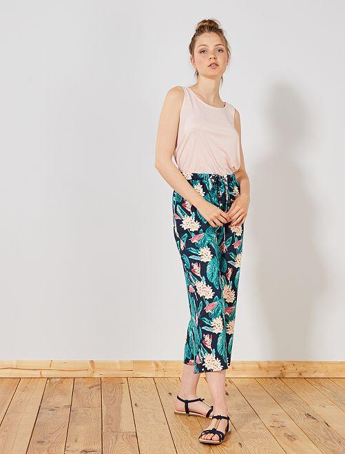 Pantalon large fluide 7/8ème                                             marine/vert fleurs