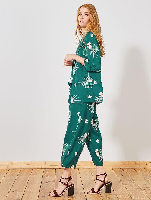 pantalon large fluide 7 8 me femme marine vert fleurs. Black Bedroom Furniture Sets. Home Design Ideas