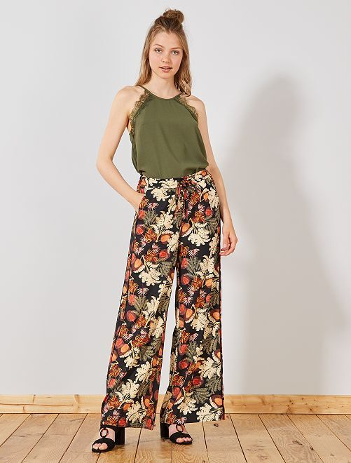 Pantalon large fluide bandes côtés                     noir