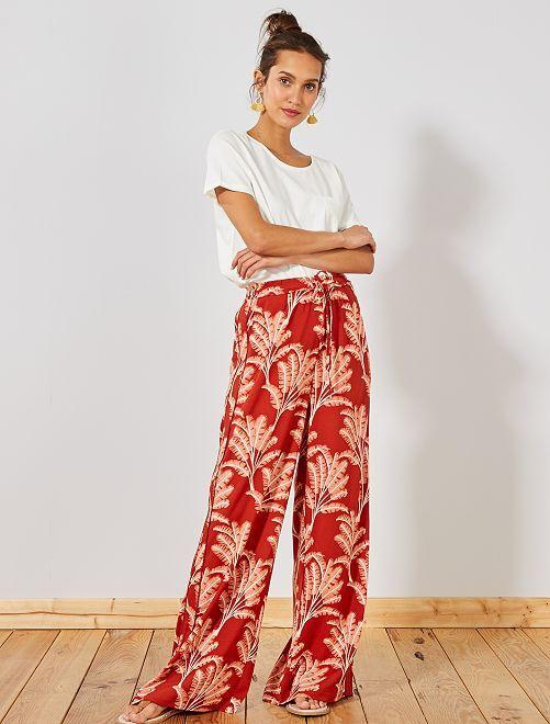 pantalon large fluide bandes c t s femme rouille kiabi. Black Bedroom Furniture Sets. Home Design Ideas